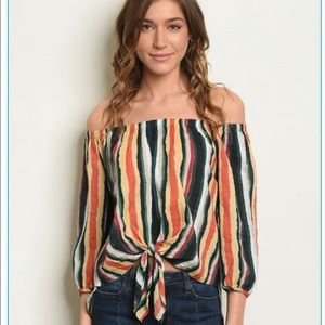 Colorful striped off the shoulders top.
